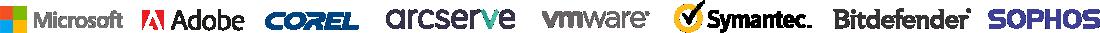 Microsoft Adobe Corel Arcserve VMware Symantec Bitdefender Sophos